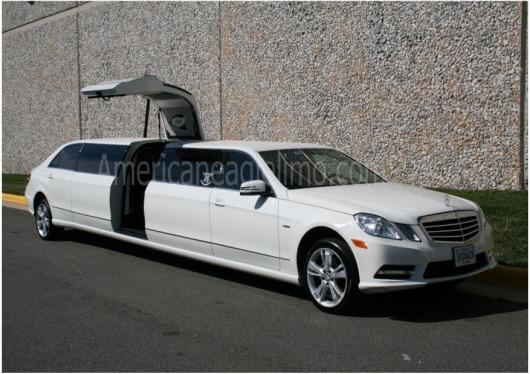 Mercedes benz jet door limousine all white american for Mercedes benz car service